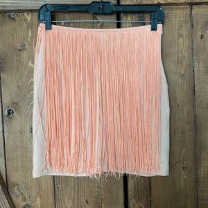 Zara Peach Fringe Skirt S